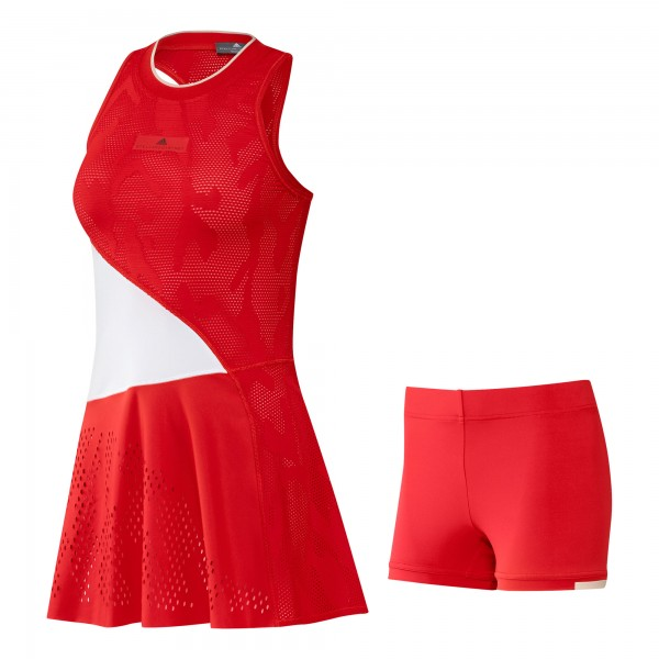 Adidas Damen Stella McCartney Dress Tennis Kleid rot-weiß
