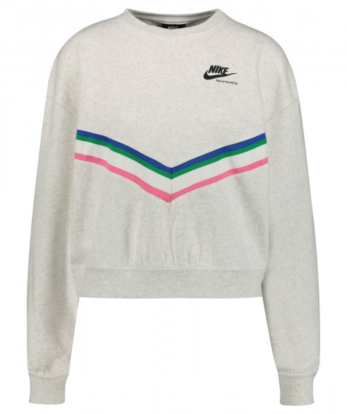 Nike Damen Heritage Fleece Crew Sweatshirt Pullover birch heather-black