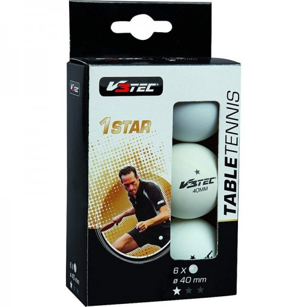 V3Tec Tischtennisball 1 Stern 6er Pack weiß