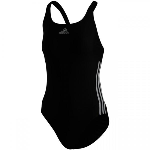 Adidas Damen Glam On Shiny 3-Streifen Badeanzug schwarz