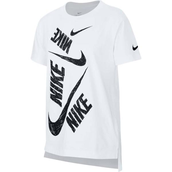 Nike Kinder Sportswear Swoosh T-Shirt weiß-schwarz
