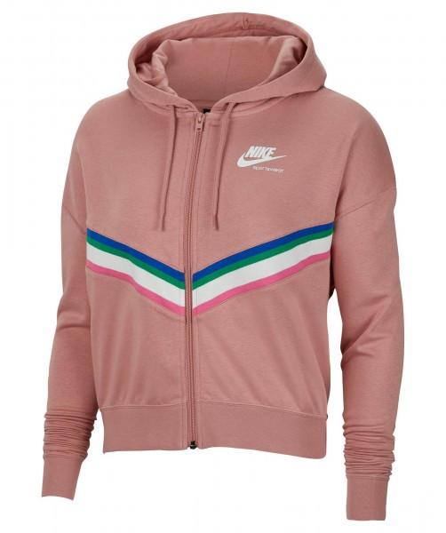 Nike Damen Sportswear Heritage Fleece Full Zip Hoodie Kapuzenjacke rust pink-weiß