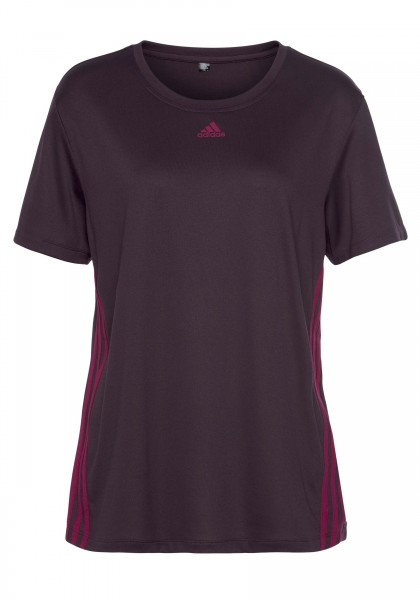 Adidas Damen Performance 3-Streifen T-Shirt Funktionsshirt lila