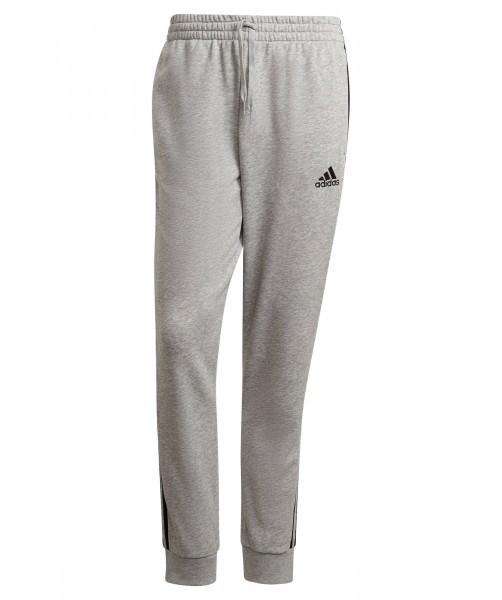 Adidas Herren French Terry 3-Streifen Tapered Cuff Jogginghose Trainingshose grau-schwarz