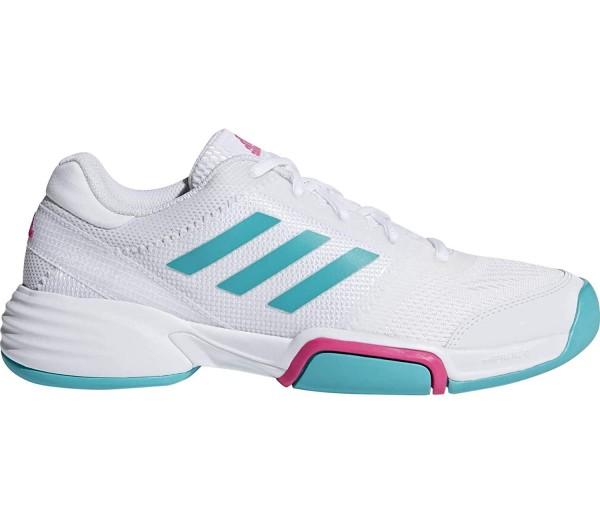 Adidas Damen Barricade Club Carpet Hallenschuh Tennisschuh weiß-türkis