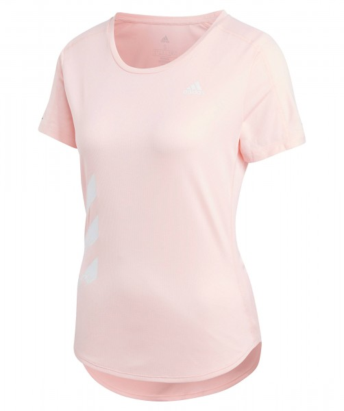 Adidas Damen Run It 3-Streifen T-Shirt Funktionsshirt rosa