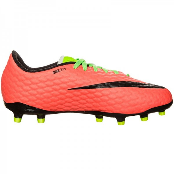 Nike Kinder Hypervenom Phelon III FG Fussballschuh grün-orange