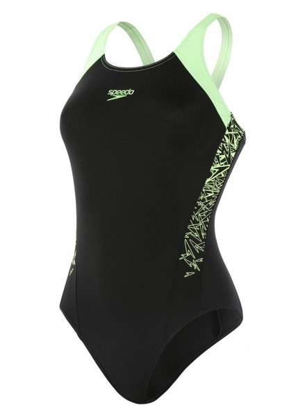 Speedo Damen Boom Splice Muscleback Badeanzug schwarz-grün