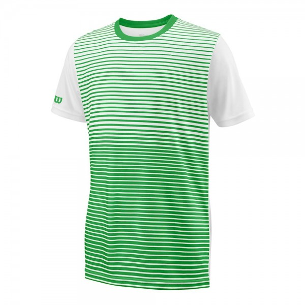 Wilson Jungen Team Striped Crew T-Shirt grün-weiß