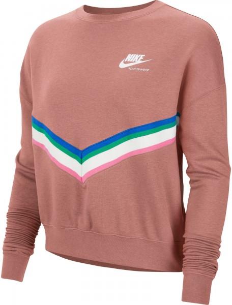 Nike Damen Sportswear Fleece Sweatshirt Pullover rust pink-weiß