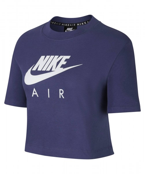 Nike Damen Air Sportswear Top Shirt blau-weiß