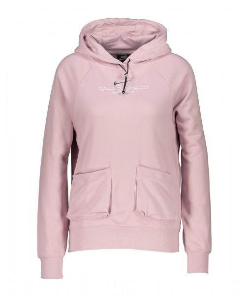 Nike Damen Sportswear Swoosh French Terry Hoodie Kapuzenpullover rosa-silber