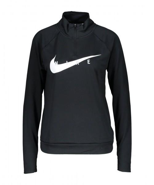 Nike Damen Swoosh Run Laufoberteil Funktionsshirt schwarz-weiß
