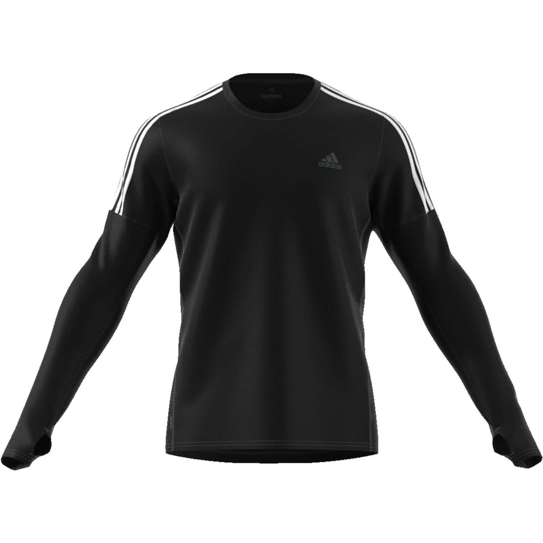 Adidas Herren Run 3 Streifen Longsleeve Laufshirt schwarz weiß