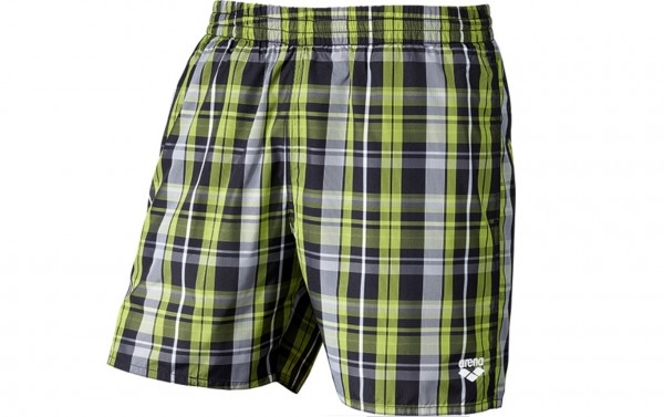 Arena Bade Short Yarn Check 2 Boxer Herren schwarz/lime/weiß