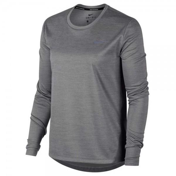 Nike Damen Miler Lauf Shirt Running Top grau/silber
