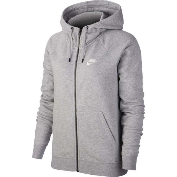 Nike Damen NSW Essential Full Zip Hoodie Kapuzenjacke grau-weiß