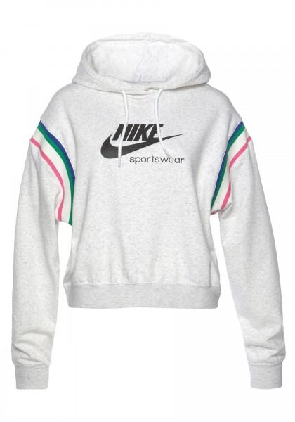 Nike Damen Sportswear Heritage PO Hoodie Kapuzenpullover birch heather-black