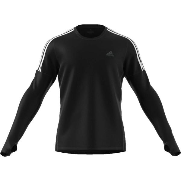 Adidas Herren Run 3-Streifen Longsleeve Laufshirt schwarz-weiß