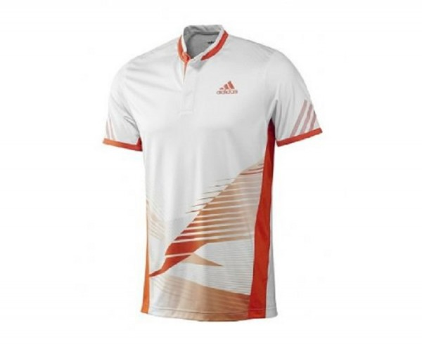 Adidas Herren Adizero Theme Tennispolo Tennisshirt weiß-orange