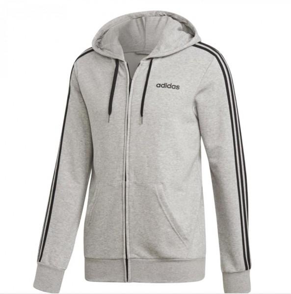 Adidas Herren Full Zip Hoodie Kapuzenjacke 3 Streifen grau