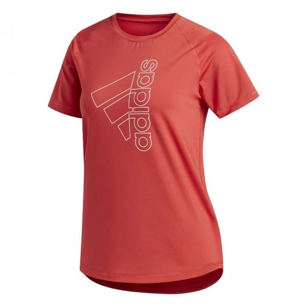 Adidas Damen Tech Badge of Sport Tee Funktionsshirt Trainingsshirt rot-weiß