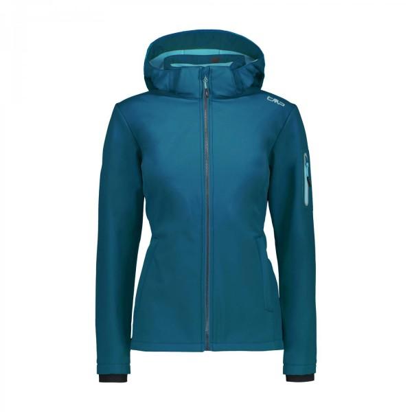 CMP Damen Zip Hood Jacket Softshell Outdoorjacke türkis