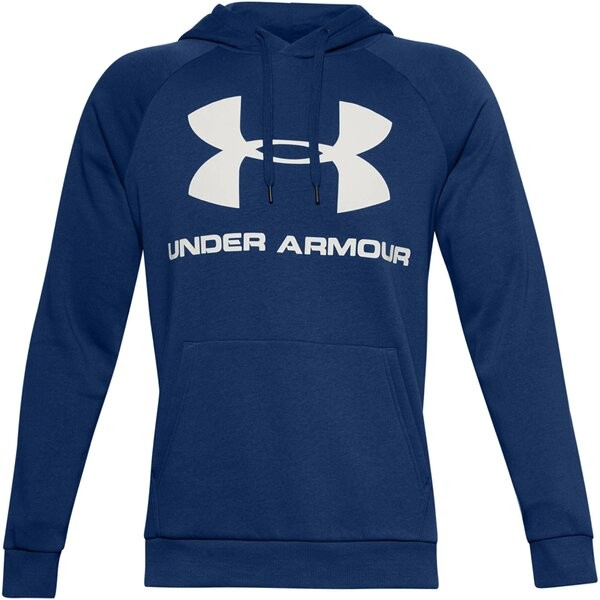 Under Armour Herren Rival Fleece Sportstyle Logo Hoodie Kapuzenpullover blau-weiß