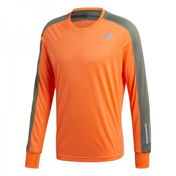 Adidas Herren Own The Run Longsleeve Funktionsshirt Trainingsshirt orange-oliv grün