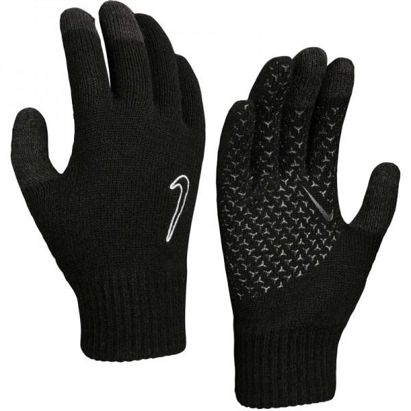 Nike Knitted Tech and Grip Touchscreen Lauf Sport Freizeit Handschuhe schwarz-weiß