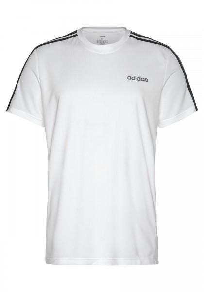 Adidas Herren Design to Move 3 Stripes Funktionsshirt Trainingsshirt weiß-schwarz