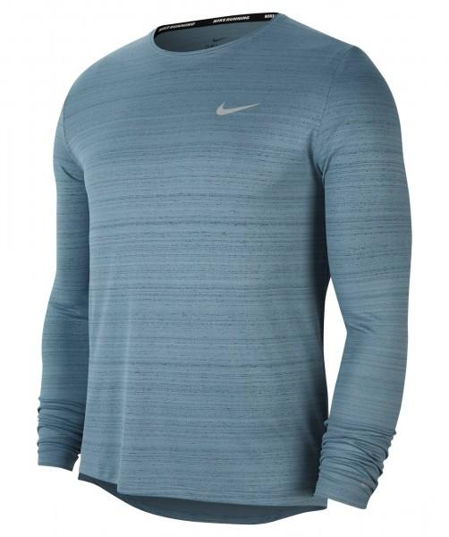 Nike Herren Dry Fit Miler Funktionsshirt Laufshirt langarm ozone blue-reflective