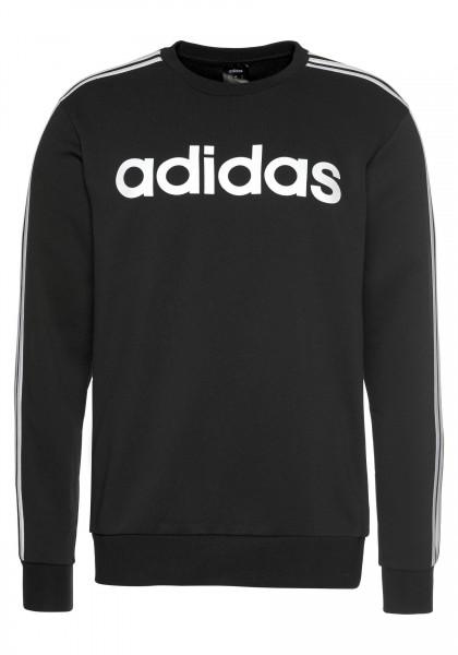 Adidas Herren Essential 3 Streifen Crew Pullover Sweatshirt schwarz/weiß