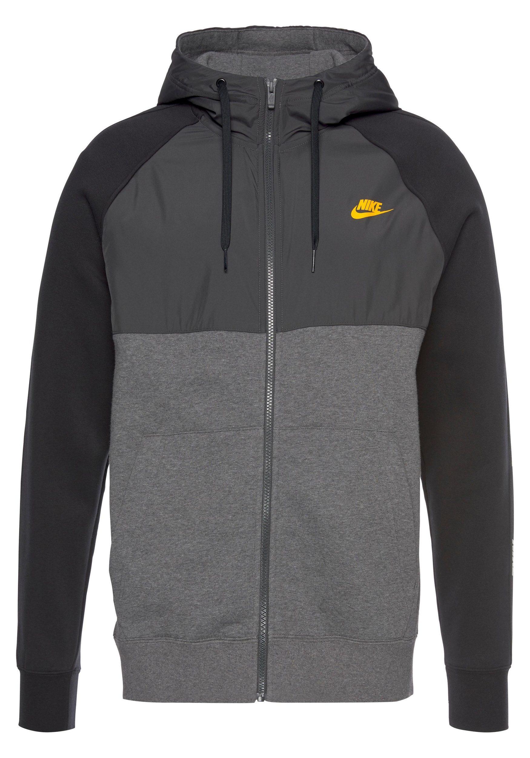 Nike Herren Sportswear Full Zip Hoodie Kapuzenjacke schwarz grau hellgrau gold