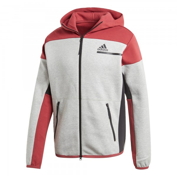 Adidas Herren Performance ZNE Full Zip Hoodie Kapuzenjacke grau-rot