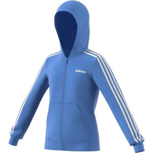 Adidas Kinder Kapuzenpullover YG E 3 Streifen Hoody hellblau-weiß