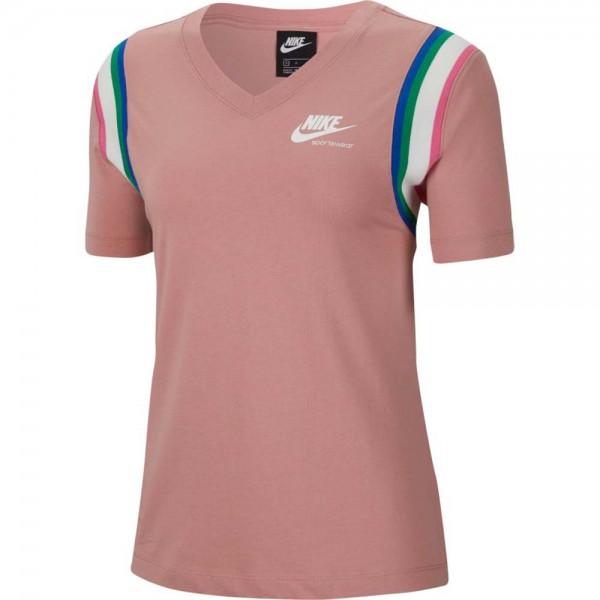 Nike Damen Sportswear Heritage Top T-Shirt rust pink-weiß