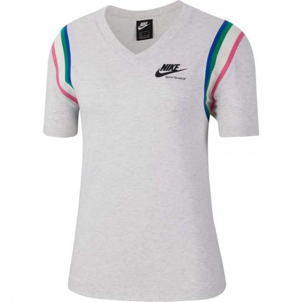 Nike Damen Sportswear Heritage Top T-Shirt birch heather-black