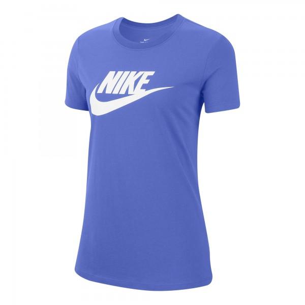 Nike Damen Sportswear Essential T-Shirt blau-weiß