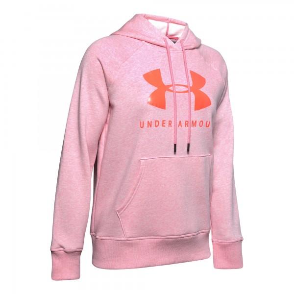 Under Armour Damen Rival Fleece Sportstyle Hoodie Kapuzenpullover rosa-rot