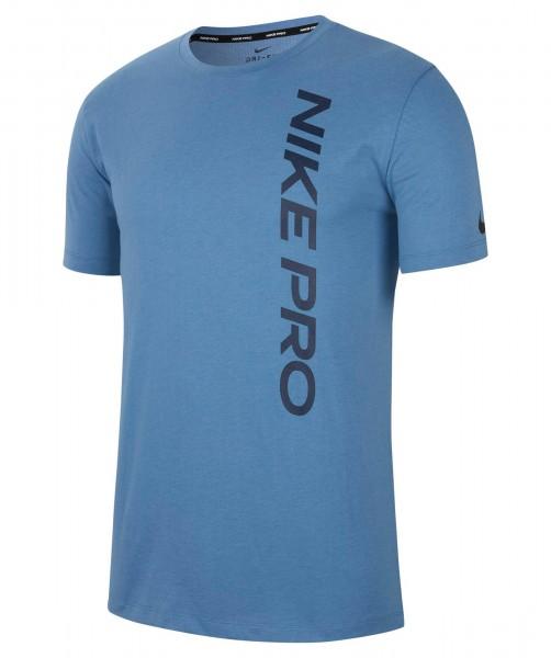 Nike Herren Pro Trainingsshirt Fitnessshirt stone blue-obsidian
