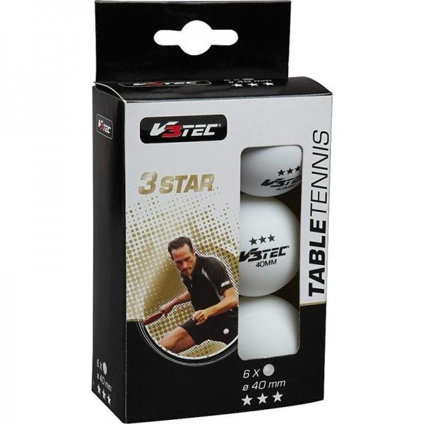 V3Tec Tischtennisball 3 Sterne 6er Pack weiß