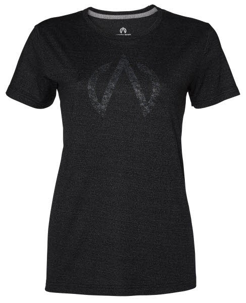 North Bend Damen Exo Wool Tee T-Shirt schwarz melange